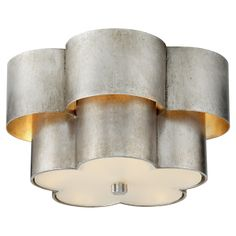 Arabelle Flush Mount in Burnished Silver Leaf with Frosted Acrylic