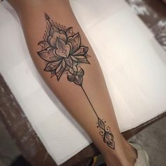 """""""The lotus flower blooms most beautifully from the deepest and thickest mud…… """"Die Lotusblume blüht am schönsten aus dem tiefsten und dicksten Schlamm …"""" ___________________________________________ Obrigado Luana,… Leg Tattoos Women, Spine Tattoos, Dope Tattoos, Body Art Tattoos, New Tattoos, Small Tattoos, Sleeve Tattoos, Calf Tattoo Women, Calf Tattoos For Women Back Of"""
