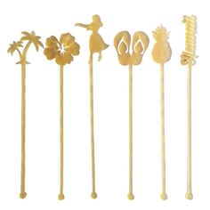 <p>Sunshine, sandy beaches, palm trees and tons of tropical vibes! Dress up your drinks with these fabulous Hawaii themed acrylic drink stirrers, packaged in a set of six. Inspired by laid back island life. A great addition for any island getaway, beach wedding, or tropical bachelorette party.  Set includes one each of the following stirrers: hula girl, hibiscus, Hawaii, pineapple, flip flops and palm tree. Laser cut with love in sunny Palm Springs, California from high quality shatterpr...