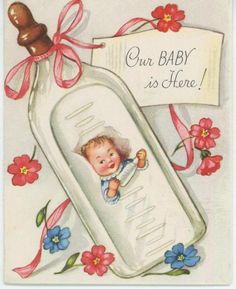 VINTAGE BABY BIRTH ANNOUNCEMENT NIPPLE MILK BOTTLE GREETING CARD ART OLD PRINT