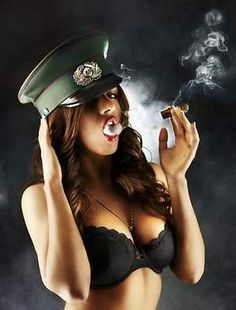 Women & Cigars Cigar smokes huff & puff smoking hot