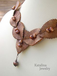 This necklace is made from recycled shoe leather. - Kathy Thompson, Katalina Jewelry