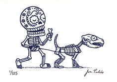 Dog Walker Calavera Gocco Print, via Flickr.