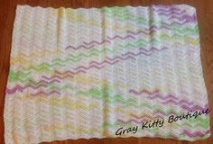 Baby Girl Chevron Stitch Afghan Pastel Multicolor by GrayKittyBoutique. $40.00, via Etsy.