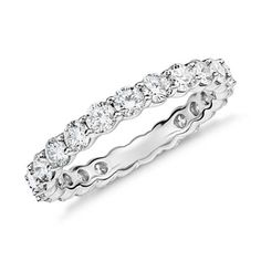 Classic and timeless, this diamond eternity ring features a continual band of round diamonds all set in enduring platinum.