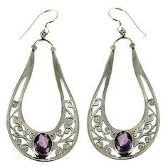 Bijoux Améthystes design - Boucles d'oreilles en Argent fin: ShalinCraft: Amazon.fr: Bijoux