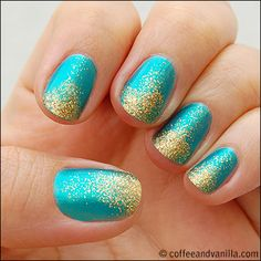Quick & Easy Nail Art For All Seasons; Turqoise Metallic with Gold Glitter Swoosh Dip » by Coffee and Vanilla