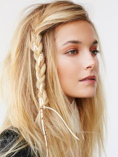 Desert Night Braid | Run this edgy braid in through your strands to add a subtle pop to your locks. Microfiber suede cord dripping with plated brass metal chains. Clips easily into hair.