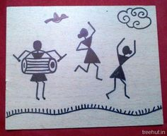Easy Warli Art for Beginners. Warli Art is a famous Folk Art of Maharashtra, India. These Warli Art Pictures are done by Waterproof pen on pieces of laminates. Worli Painting, Painting Of Girl, Pottery Painting, Fabric Painting, Dancing Drawings, Art Drawings, Sprinkles, Fabric Paint Designs, Indian Art Paintings