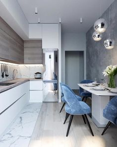marble blue small kitchen ideas condo russian home interior design style white a. - marble blue small kitchen ideas condo russian home interior design style white and wood cabinets gl - Kitchen Room Design, Luxury Kitchen Design, Condo Kitchen, Kitchen Cabinet Colors, Home Decor Kitchen, Interior Design Living Room, Home Kitchens, Kitchen Ideas, Kitchen Soffit