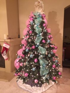 Pink, blue, orange, gold , purple , green, red Christmas tree. Deco ...