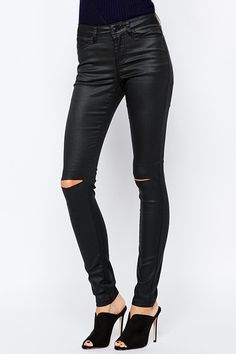Solid Color High Waisted Casual Ripped Pants