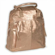 GHIDA - Chic.  Copper Metallic gloss Tote,  made from soft leather with zipper in  fine rosé shimmer and extravagant portrait format. Access! € 198.00