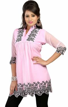 Picture of Lovable Light Pink Designer Tunics