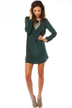 Middleway Shift Dress in Hunter Green