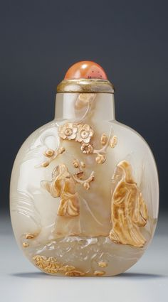 A CHALCEDONY 'MENG HAORAN' SNUFF BOTTLE SUZHOU, SCHOOL OF ZHITING, QING DYNASTY, 18TH / 19TH CENTURY