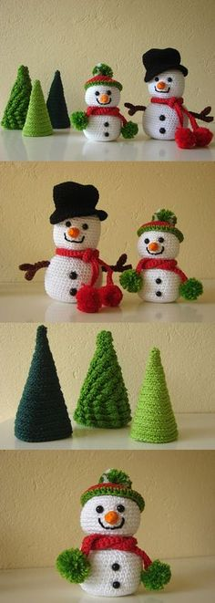 These are the happiest crochet snowmen I've ever seen! This crochet pattern even includes some Christmas trees for the snowmen to hang out with. So cute! I love snowmen bunches and these are going to look great with the snowmen collection on my mantel. (affiliate link)