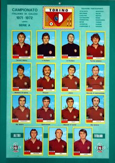 Torino team stickers for Football Cards, Football Team, Image Foot, Graphic Design Posters, Club, Soccer, History, Scrapbooks, 1970s