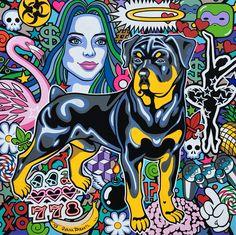 "Oxana Prantl - ""Rotweiler"" - acrylic painting on canvas, cm. Animal Portraits, Acrylic Painting Canvas, Portrait Art, Pop Art, Comic Books, Comics, Animals, Animales, Animaux"