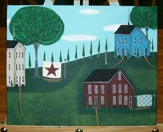 Original Folk Art Painting on Canvas in Acrylics Saltbox Houses Quilts Trees Shrubs Primitive via Etsy