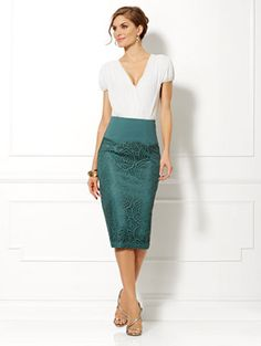 Shop Eva Mendes Collection - Carrie Lace Pencil Skirt . Find your perfect size online at the best price at New York & Company.