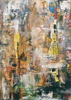 Je suis de passage /  100x140cm (Peintures 2010) Je crée donc des œuvres à partir d'affiches lacérées par des passants anonymes ou abîmées par les conditions climatiques en les décollant de leur support dans la rue. Après avoir découpé et décollé les affiches et les avoir choisies, je les recompose, les superpose, les recadre, les maroufle sur toile et les signe.