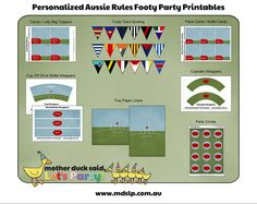 Aussie Rules Footy Printable Party Collection 9th Birthday Parties, 5th Birthday, Bag Toppers, Sports Party, Printable Party, Party Ideas, Theme Ideas, Place Cards, Birthdays