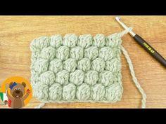 Learn to crochet bubble pattern cute pattern of pimples Crochet Diy, Crochet Basics, Knitting For Beginners, Learn To Crochet, Crochet Stitches, Embroidery Patterns, Knitting Patterns, Crochet Patterns, Bobble Stitch