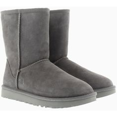 UGG Boots & Booties - W Classic Short II Grey - in grey - Boots &... (12.970 RUB) ❤ liked on Polyvore featuring shoes, boots, ankle booties, ankle boots, grey, gray boots, grey boots, grey ankle booties and platform boots