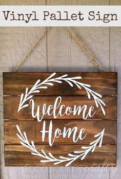 DIY - Wooden Pallet Welcome Home Sign - great home decor project with instructions and a downloadable template for the lettering and leaves. So trendy and sweet!