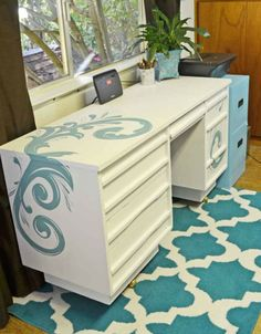 A gorgeous desk given a new look with Old White and Provence Chalk Paint® decorative paint by Annie Sloan  | By Just Paint It