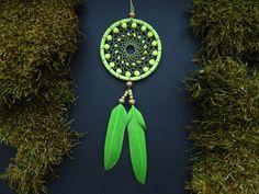 Lime green dream catcher rear view mirror by DeiDreamCatchers