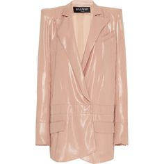 Glossy Mousseline Blazer | Moda Operandi (95.970 RUB) ❤ liked on Polyvore featuring outerwear, jackets, blazers, blazer, balmain jacket, peak lapel blazer, wet look jacket, red jacket and peaked lapel blazer