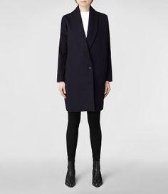 Womens Electo Klein Coat (Ink) | ALLSAINTS.com