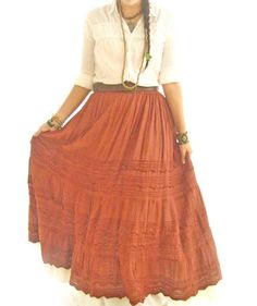 Chocolate Picos Mexican peasant maxi skirt