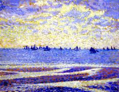"dutch-and-flemish-painters:oceanoon: ""Fishing Boats at Boulogne"", 1900, Theo van Rysselberghe.  Théo (Théophile) van Rysselberghe (23 Nov..."