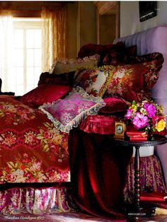 tapestry bedding - I want to take a nap here. I suspect the air is perfectly fragrant. Beautiful Bedrooms, Beautiful Homes, Interior Exterior, Interior Design, Modern Exterior, Tapestry Bedding, Velvet Bedspread, Boho Bedding, Victorian Bedroom