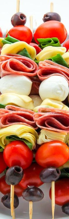 Antipasto Skewers ~ Easy and amazing... The perfect party appetizer.