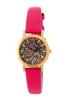 kate spade new york | women's metro mini glitter dial leather strap watch | Nordstrom Rack