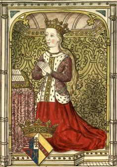Isabeau de Lorraine, reine de Sicile, †1452. Dessin d'un vitrail des Cordeliers d'Angers (Gaignières 1303). -- «… Isabelle Duchesse de Lorraine femme de René Duc d'Anjou Roy de Sicile, mariee le 24 Octobre 1420, morte le 28 fevrier 1452».