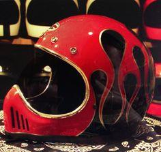 Brat Motorcycle, Custom Motorcycle Helmets, Custom Helmets, Custom Bikes, Bike Helmets, Retro Helmet, Vintage Helmet, Vintage Racing, Bike Look