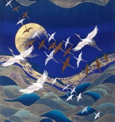 """Japanese Cotton Fabric © Kona Bay Panel """"Flying Cranes, Waves and Golden Moon """" Japanese Cotton, Japanese Art, Root Structure, Mountain Paintings, Crane, Funny Animals, Cotton Fabric, Waves, Art Prints"""
