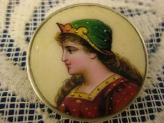 Hand Painted Enamel ~ Limoges Lady Portrait Pin ~ Art Nouveau Brooch