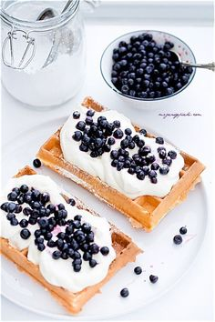 The best waffles - crispy on the outside and light as a feather :-). Delicious with whipped cream and fruits, perfect for dessert! Polish Desserts, Polish Recipes, Breakfast Bites, Waffle Iron, Diy Food, Food Porn, Brunch, Food And Drink, Cooking Recipes