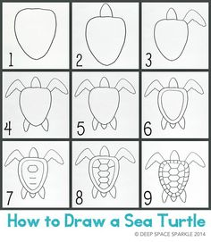 This lesson was inspired by a lesson in The Usborne Book of Art Projects. It was a huge hit with my third grade class. The lesson in the book focused on fish but I thought a sea turtle would look love