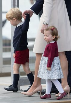 Prince George of Cambridge and Princess Charlotte of Cambridge depart Victoria on October 1 2016 in Victoria Canada