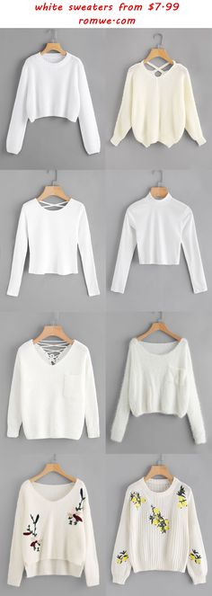 white sweaters 2017 - romwe.com