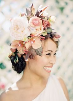 An incredible floral hair wreath that really makes a statement. /// Photo by Jen Huang {Photo via Project Wedding} Hairdo Wedding, Elegant Wedding Hair, Wedding Hairstyles For Long Hair, Perfect Wedding, Wedding Bouquets, Wedding Flowers, Wedding Hair Inspiration, Wedding Ideas, Floral Crown