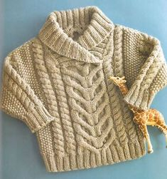 Little-Baby-Aran-Cable-Shawl-Collar-22-26-Aran-Wool-Knitting-Pattern Baby Knitting Patterns, Baby Sweater Patterns, Knitting For Kids, Baby Patterns, Crochet Baby Cardigan, Knit Baby Sweaters, Knitted Baby Clothes, Cable Sweater, Baby Jumper