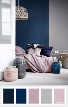 Navy blue mauve and grey color palette color inspiration Living Room Color Schemes, Living Room Designs, Grey Living Room Ideas Colour Palettes, Home Color Schemes, Grey Living Room Ideas Color Schemes, Bedroom Colour Schemes Blue, Colour Combinations Interior, Bedroom Colour Palette, Bedroom Colours